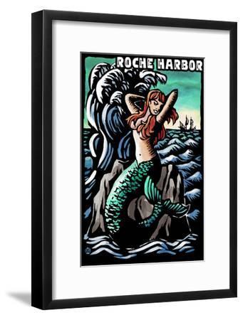 Roche Harbor, Washington - Mermaid - Scratchboard-Lantern Press-Framed Art Print
