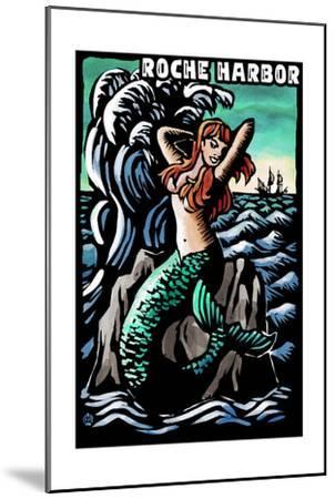 Roche Harbor, Washington - Mermaid - Scratchboard-Lantern Press-Mounted Art Print