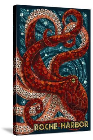 Roche Harbor, Washington - Octopus Mosaic-Lantern Press-Stretched Canvas Print