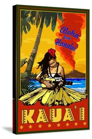 Kauai, Hawaii - Aloha from Hanalei - Hula Girl and Ukulele-Lantern Press-Stretched Canvas Print