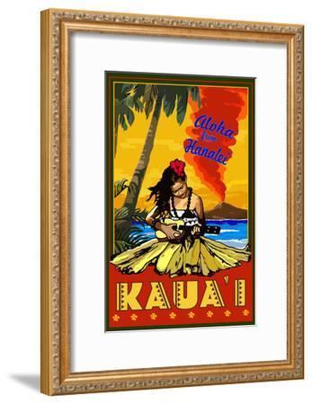 Kauai, Hawaii - Aloha from Hanalei - Hula Girl and Ukulele-Lantern Press-Framed Art Print