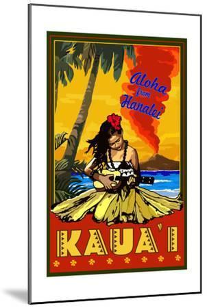 Kauai, Hawaii - Aloha from Hanalei - Hula Girl and Ukulele-Lantern Press-Mounted Art Print