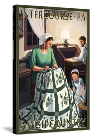 Intercourse, Pennsylvania - Amish Quilting Scene-Lantern Press-Stretched Canvas Print