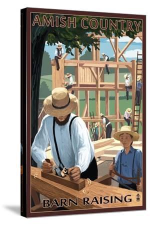 Amish Country - Barn Raising-Lantern Press-Stretched Canvas Print
