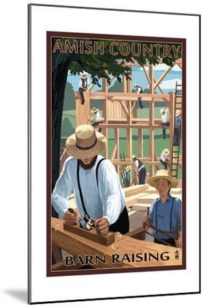 Amish Country - Barn Raising-Lantern Press-Mounted Art Print