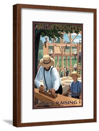 Amish Country - Barn Raising-Lantern Press-Framed Art Print