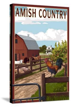 Amish Country - Farmyard Scene-Lantern Press-Stretched Canvas Print