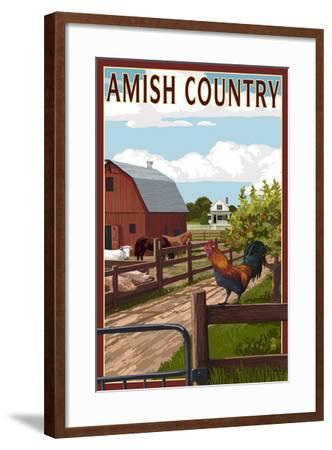 Amish Country - Farmyard Scene-Lantern Press-Framed Art Print