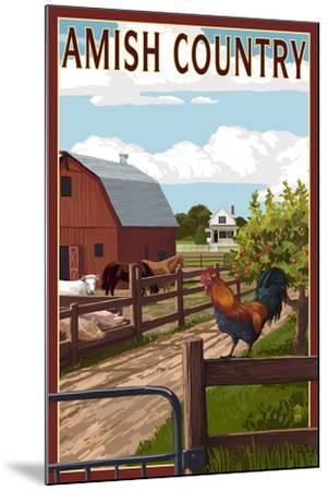 Amish Country - Farmyard Scene-Lantern Press-Mounted Art Print