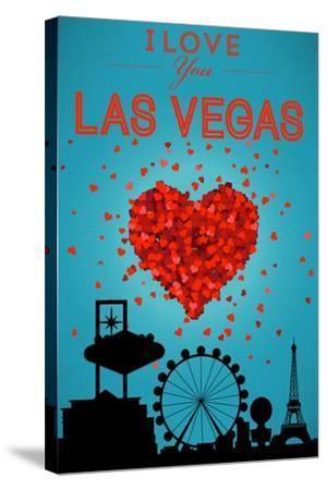 I Love You Las Vegas, Nevada-Lantern Press-Stretched Canvas Print