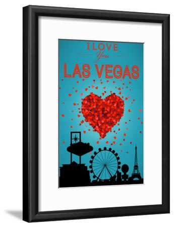I Love You Las Vegas, Nevada-Lantern Press-Framed Art Print