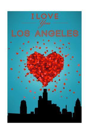 I Love You Los Angeles, California-Lantern Press-Framed Art Print