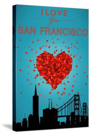 I Love You San Francisco, California-Lantern Press-Stretched Canvas Print