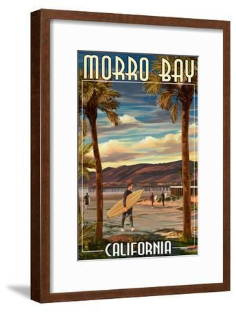 Morro Bay, California - Surfer and Pier-Lantern Press-Framed Art Print