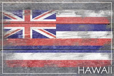 Hawaii State Flag - Barnwood Painting-Lantern Press-Stretched Canvas Print