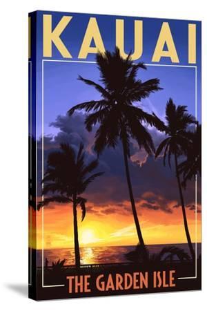 Kauai, Hawaii - the Garden Isle - Palms and Sunset-Lantern Press-Stretched Canvas Print