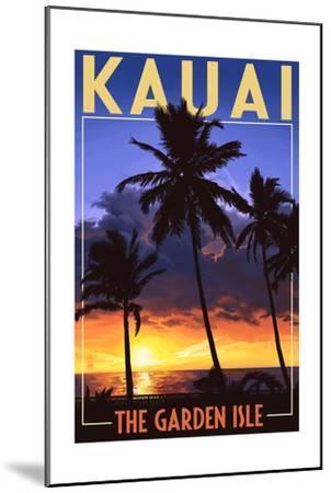 Kauai, Hawaii - the Garden Isle - Palms and Sunset-Lantern Press-Mounted Art Print