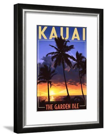 Kauai, Hawaii - the Garden Isle - Palms and Sunset-Lantern Press-Framed Art Print