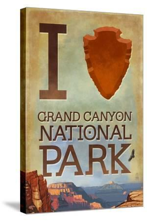 I Heart Grand Canyon National Park, Arizona-Lantern Press-Stretched Canvas Print