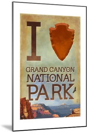 I Heart Grand Canyon National Park, Arizona-Lantern Press-Mounted Art Print