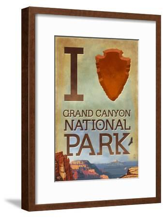 I Heart Grand Canyon National Park, Arizona-Lantern Press-Framed Art Print