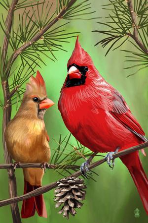 Cardinals in Summer-Lantern Press-Framed Art Print
