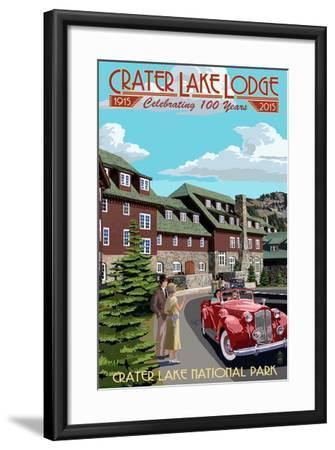 Crater Lake National Park, Oregon - Lodge Entrance - 100 Years-Lantern Press-Framed Art Print