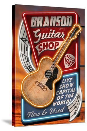 Branson, Missouri - Acoustic Guitar Music Shop-Lantern Press-Stretched Canvas Print
