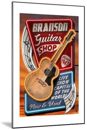 Branson, Missouri - Acoustic Guitar Music Shop-Lantern Press-Mounted Art Print