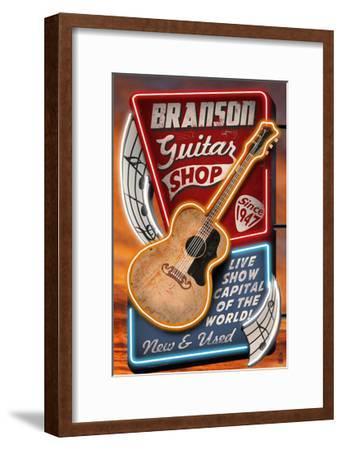 Branson, Missouri - Acoustic Guitar Music Shop-Lantern Press-Framed Art Print