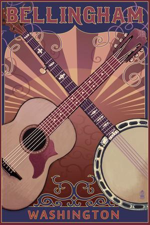 Bellingham, Washington - Guitar and Banjo-Lantern Press-Framed Art Print