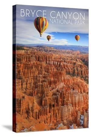 Bryce Canyon National Park, Utah - Hot Air Balloons-Lantern Press-Stretched Canvas Print