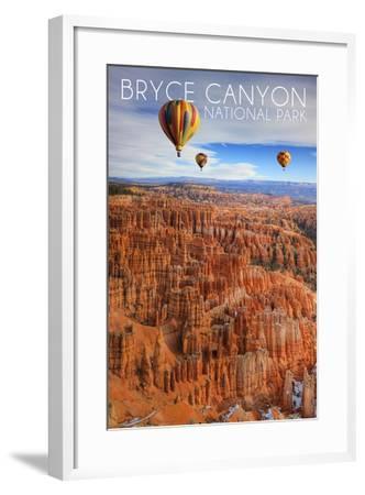 Bryce Canyon National Park, Utah - Hot Air Balloons-Lantern Press-Framed Art Print