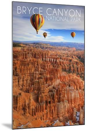 Bryce Canyon National Park, Utah - Hot Air Balloons-Lantern Press-Mounted Art Print