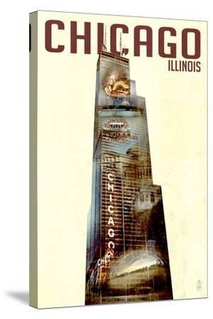 Chicago, Illinois - Willis Tower Double Exposure-Lantern Press-Stretched Canvas Print