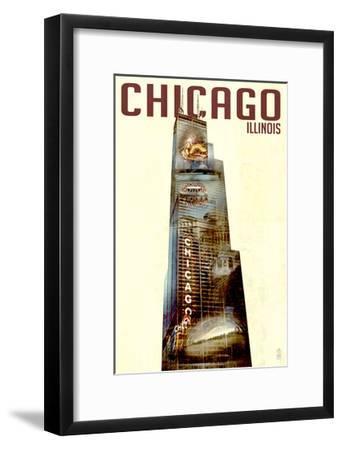 Chicago, Illinois - Willis Tower Double Exposure-Lantern Press-Framed Art Print