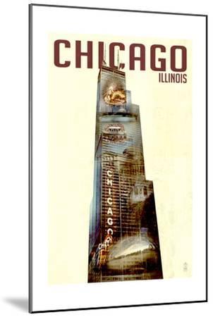Chicago, Illinois - Willis Tower Double Exposure-Lantern Press-Mounted Art Print
