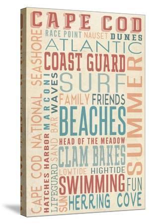 Massachusetts - Beaches Typography-Lantern Press-Stretched Canvas Print