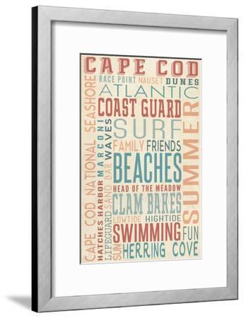 Massachusetts - Beaches Typography-Lantern Press-Framed Art Print