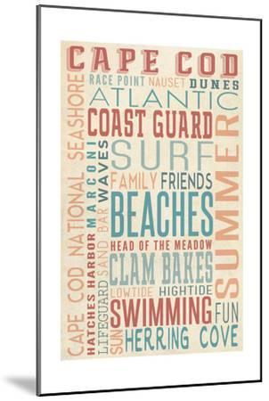 Massachusetts - Beaches Typography-Lantern Press-Mounted Art Print