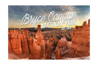 Bryce Canyon National Park, Utah - Script Thors Hammer-Lantern Press-Framed Art Print