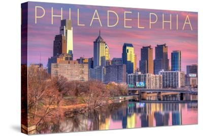 Philadelphia, Pennsylvania - Skyline and River Sunset-Lantern Press-Stretched Canvas Print