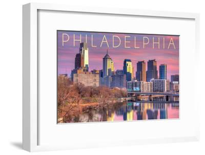 Philadelphia, Pennsylvania - Skyline and River Sunset-Lantern Press-Framed Art Print