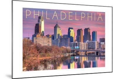 Philadelphia, Pennsylvania - Skyline and River Sunset-Lantern Press-Mounted Art Print