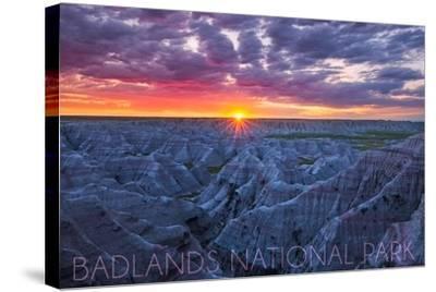 Badlands National Park, South Dakota - Purple Sunrise-Lantern Press-Stretched Canvas Print