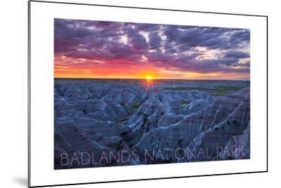 Badlands National Park, South Dakota - Purple Sunrise-Lantern Press-Mounted Art Print