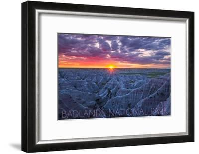 Badlands National Park, South Dakota - Purple Sunrise-Lantern Press-Framed Art Print
