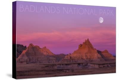 Badlands National Park, South Dakota - Sunset and Moon-Lantern Press-Stretched Canvas Print