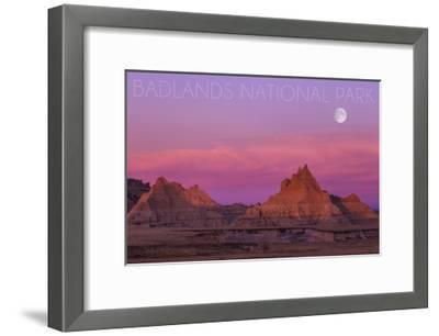 Badlands National Park, South Dakota - Sunset and Moon-Lantern Press-Framed Art Print