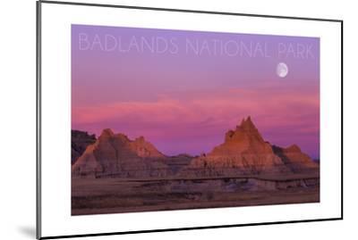 Badlands National Park, South Dakota - Sunset and Moon-Lantern Press-Mounted Art Print